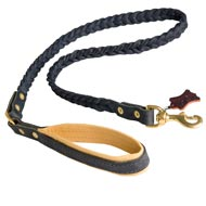 Braided Handcrafted Leather Dog Leash with Nappa Leather Lined Handle