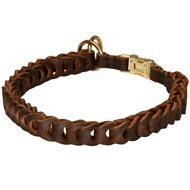 Dog Choke Leather Collar Braided