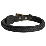 Dog Braided Leather Collar 1 Inch