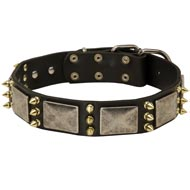 Dog Spiked Leather Collar with Nickel Plates
