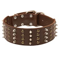 Extra Wide Leather Spiked and Studded Dog Collar