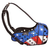 American Pride Painted Leather Dog Muzzle for Protection Training