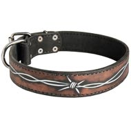 Handpainted Leather Dog Collar with Barbed Wire Drawing