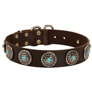 Leather Dog Collar with Blue Stones for Stylish Walking