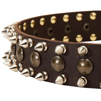 Dog Leather Collar with Hand Set Spikes  And Studs