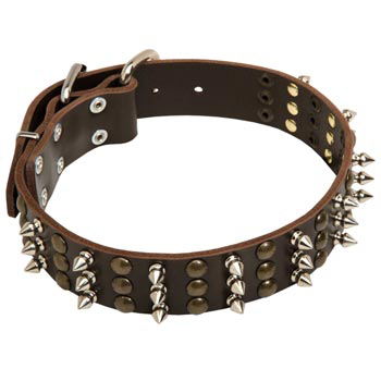 Dog Handmade Leather Collar 3  Studs and Spikes Rows