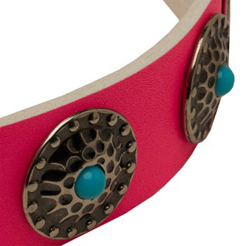 Pink Dog Collar Leather with Blue Stones