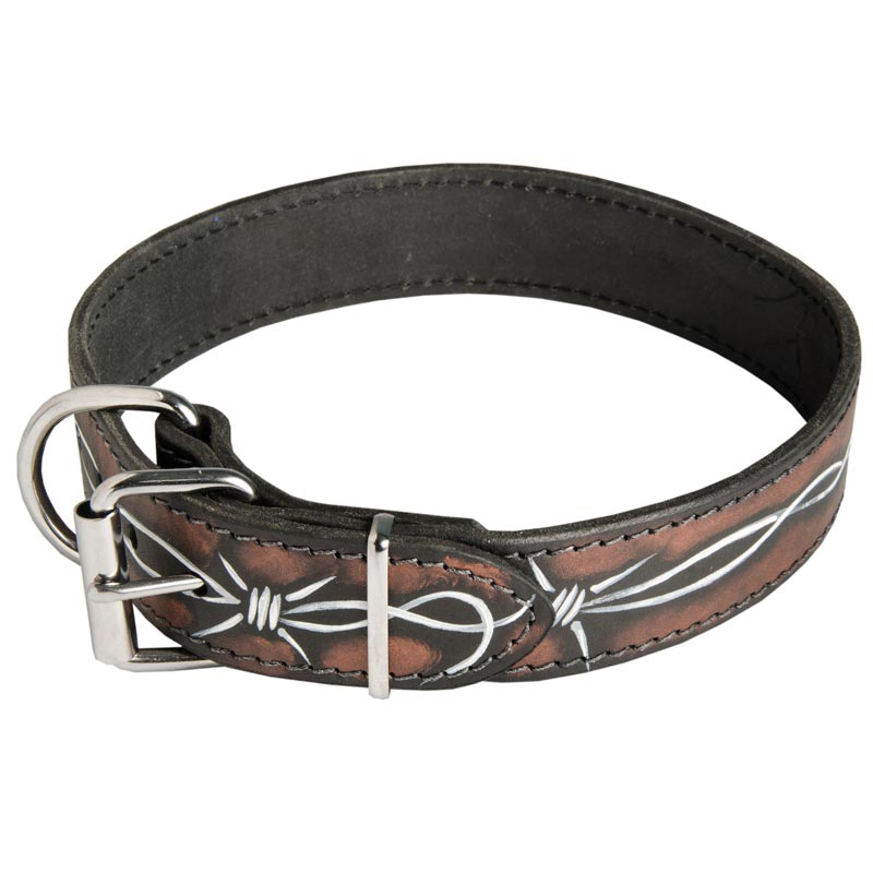 Handpainted Leather Dog Collar with Barbed Wire Drawing [C78##1144 ...