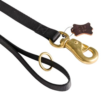 Dog Nylon Leash with Brass O-ring and Snap Hook